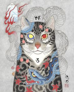 Cat Tattoo by Monmon cats Japanese Drawing, Japanese Pop Art, Japanese Cat, Japanese American, Japanese Prints, Illustrations, Illustration Art, Oriental Cat, Art Asiatique