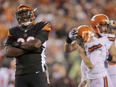 Cincinnati Bengals defensive end Carlos Dunlap (96) celebrates after sacking Cleveland Browns quarterback Johnny Manziel (2) in the fourth quarter of the NFL Week 9 game between the Cincinnati Bengals and the Cleveland Browns at Paul Brown Stadium in downtown Cincinnati on Thursday, Nov. 5, 2015. The Bengals improved to 8-0 for the first time in franchise history with a 31-10 victory over Cleveland in the Battle of Ohio game.  The Enquirer/Sam Greene