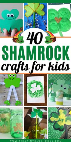 Here are 40 best shamrock crafts that kids love making for St. These 40 easy preschool and toddler shamrock crafts are great for even the smallest kids. St Patricks Day Crafts For Kids, St Patrick's Day Crafts, Fun Crafts For Kids, Rock Crafts, Craft Activities For Kids, Cute Crafts, Toddler Crafts, Toddler Activities, Holiday Crafts