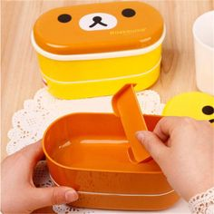 540ML2 Colors Double Layer Lunch Box Lovely High Heat Resistance plastic student
