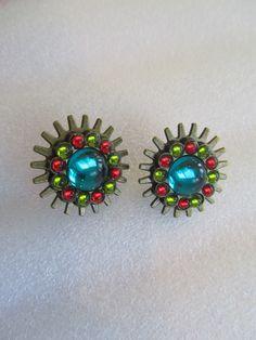 Teal Button Earrings, Button Earrings, Steampunk Earrings, Teal Earrings, Mothers Day Gifts, Birthday Gifts Women, Teal Prom Earrings, Gifts by BrownBeaverBeadery on Etsy