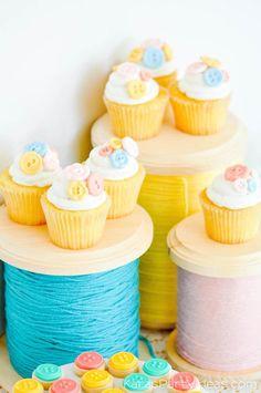 Button cupcakes at a sewing themed birthday party via Kara's Party Ideas | Kara Allen | KarasPartyIdeas.com A lot of cute as a button elements, decor, cupcakes, food, games and more!_-120