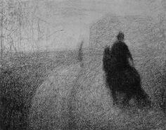 georges seurat. reiter auf der strasse. 1883. conté kreide auf papier