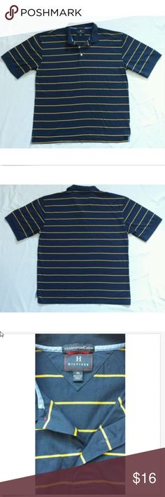 "Tommy Hilfiger Mens Shirt Size XL Tommy Hilfiger  Mens  Polo Shirt  50s Mercerized Cotton Size XL  Dark Blue & Gold Striped   Measurements:   •Pit to pit- 23.5""   •Hem to bottom- 29"" Tommy Hilfiger Shirts Polos"