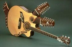3 neck acoustic-electric guitar Pikasso, made by luthier Linda Manzer for guitarist Pat Metheny