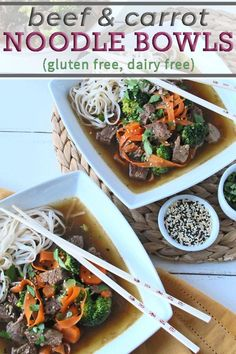 "Get step-by-step directions to make carrot ""noodles"" for these Beef and Carrot Noodle Bowls. They are easy to make and are fun to eat, making this kid friendly recipe one you will want to make again and again. This gluten free, dairy free meal is quick enough for a weeknight, and any leftovers will taste great the next day! #noodlebowls #glutenfreerecipes #dairyfreerecipes #glutenfreedairyfree #beefrecipes Best Gluten Free Recipes, Gluten Free Recipes For Dinner, Healthy Dinner Recipes, Paleo Recipes, Beef Chuck Recipes, Lamb Recipes, Bison Recipes, Carrot Noodles, Beef And Noodles"