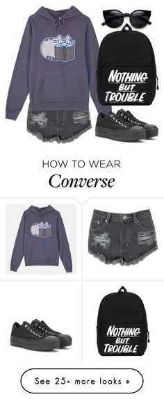 """#420"" by uccelli on Polyvore featuring Glamorous, Pusheen and Converse"