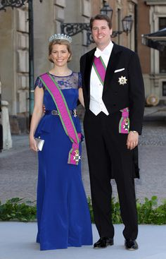 Hereditary Princess Kelly of Saxe-Coburg and Gotha and Hereditary Prince Hubertus of Saxe-Coburg and Gotha attend the wedding at The Royal Palace on 8 June 2013 in Stockholm, Sweden