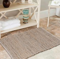 Jute Cotton Rug Ft inches) Hand Woven by Expert Artisans, Farmhouse Type, for Any Room of Your House décor – Honeycomb Weave Development - Pure Jute Cotton Rug Natural Area Rugs, Natural Rug, Farmhouse Area Rugs, Farmhouse Decor, Country Rugs, Decor Around Tv, Lino Natural, Braided Rag Rugs, Vintage Tile