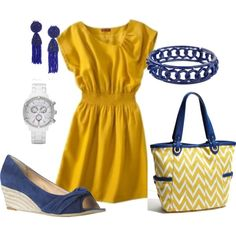 mustard and blue, created by hedufed on Polyvore