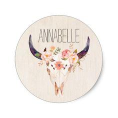 Bull Head Skull Flowers Watercolor Illustration Classic Round Sticker @zazzle #junkydotcom June 25 2016  4x