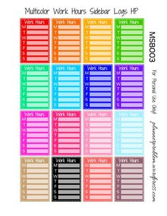 Multicolor Work Hours Sidebars – Free Printable Planner Stickers