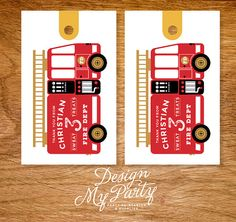Fire Engine Thank You Favour Tags (DIY Printables)