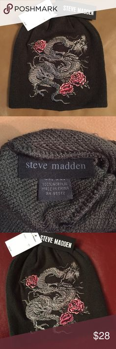 NWT STEVE MADDEN H-Dragon Beanie Cap🖤❤️ NWT STEVE MADDEN H-Dragon Beanie Cap🐲🌹  Awesome Embroidered Fierce Dragon & Roses Beanie with an Exotic Edge with Romance! Military Color. One Size Fits Most. New With Tags.   Pet & Smoke Free Home. Happy Poshing💁💕 Steve Madden Accessories Hats