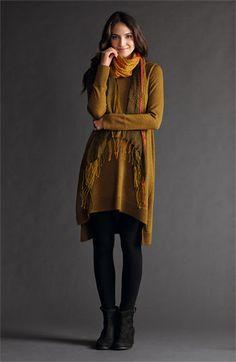 Eileen Fisher Tunic Dress, Leggings & Scarf | Nordstrom
