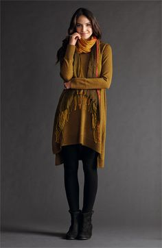 This has become my favorite outfit this winter. Eileen Fisher Tunic Dress, Leggings & Scarf