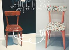 Chair_ sticker by chaise avt apres Recycled Furniture, Kids Furniture, Furniture Design, Chair Makeover, Furniture Makeover, Chair Redo, Shabby Chic Cabin, Café Bar, Painted Chairs