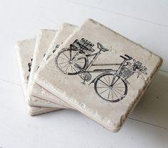 bicycle coasters  set of 4 by TheShabbyCreekShop on Etsy, $14.00