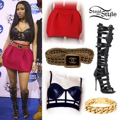 Nicki Minaj: Cage Bra, Gladiator Boots