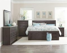 Stonehill Dark Brown Wood Glass 5pc Bedroom Set W/King Mansion Bed