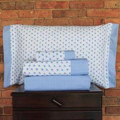 Juego de sábanas de 200 hilos. Diseño Florcitas azules. Colección Basic diseño.