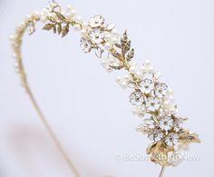 Wedding Tiara of Vintage Jewlelry and Gold by BeSomethingNew