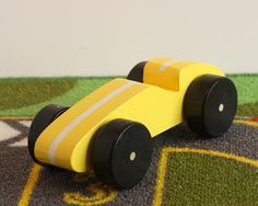 Toy Yellow Race Car  Handcrafted Wooden Toy Race Car  by McCoyToys
