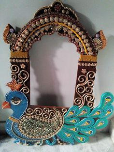 zarokha n peacock Ganapati Decoration, Decoration For Ganpati, Kalash Decoration, Diwali Decorations, Festival Decorations, Flower Decorations, Mirror Painting, Ceramic Painting, Diwali Craft