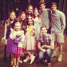 Corey and some of the cast of Newsies & Annie backstage with Laura @The Blue Tree . on Broadway