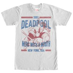 Deadpool is always breaking the fourth wall on the Marvel Deadpool 1991 WHITE T-Shirt. Deadpool is portrayed in a distressed red and blue print with 1991 Deadpool Merc with a Mouth New York, to commemorate his first appearance in The New Mutants Deadpool T Shirt, Marvel Shirt, Deadpool Cosplay, Cool Tees, Cool Shirts, Tee Shirts, Man Thing Marvel, Tee Design, Vintage Shirts