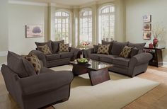Strauss Chocolate Upholstery Collection   Furniture.com. Brown microfiber sofa with welted trim.