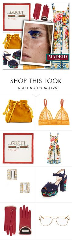 """""""How to Style an Easy Floral Print Dress with a Yellow Bag and Gucci Scarf for Travel to Madrid, Spain"""" by outfitsfortravel ❤ liked on Polyvore featuring Clare V., STELLA McCARTNEY, Gucci, Dolce&Gabbana, EF Collection, Club Monaco and Garrett Leight"""