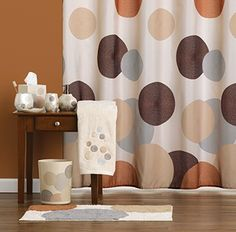 Dots and Rings fabric shower curtain