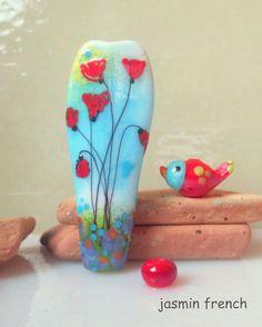 jasmin french ' poppy meadow ' lampwork focal bead glass art set