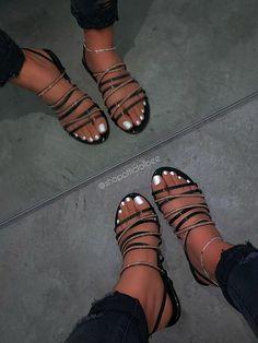 Please read shoe size description before placing your Cute Sandals, Black Sandals, Pretty Sandals, Summer Sandals, Pretty Shoes, Cute Shoes, Me Too Shoes, Fashion Slippers, Fashion Shoes