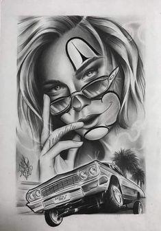 Tattoo Chicana, Chicano Art Tattoos, Chicano Drawings, Tattoo Drawings, Lowrider Drawings, Chola Girl, Dark Tattoo, Comics Girls, Tattos