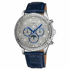 Joshua & Sons Men's JS-41-BU Sparkling Mechanical Multi-Function Strap Watch Joshua & Sons. $139.00. Silver-sparkling dial with 12 genuine crystal hour markers. Blue, genuine calfskin leather strap. Water-resistant to 50 M (165 feet). Subdials feature the day, date, gmt and mood phase. Beaded bezel adorned with six crystals. Save 80%!