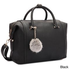 Dasein Faux Satchel Handbag with PomPom, Women's