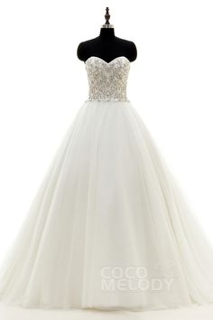 Trendy A-Line Sweetheart Train Tulle Ivory Zipper With Button Wedding Dress with Beading h1mr0130