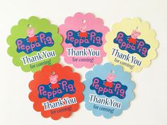 12 Peppa Pig Thank you Birthday party favor tags by MHparty
