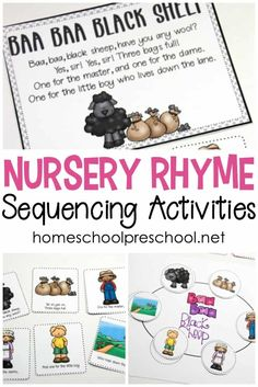Teaching with Nursery Rhymes Don't miss these free printable nursery rhyme sequencing cards is perfect for preschool and kindergarten kids. Set includes posters, sequencing cards, and more! Nursery Rhymes Kindergarten, Rhyming Kindergarten, Free Nursery Rhymes, Nursery Rhyme Crafts, Nursery Rhyme Theme, Classic Nursery Rhymes, Sequencing Activities, Nursery Rhyme Activities, Homeschool Kindergarten