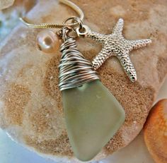 Sea Glass w/ Wrapped Wire To Make a Homemade Necklace w/ Nostalgic Value