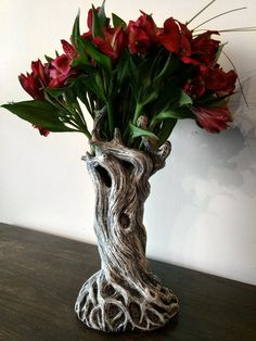 Sculpted tree vase, cast in resin and hand painted. 11 tall Sculpted tree vase, cast in resin and hand painted. Gothic Home Decor, Gothic House, Home And Deco, Vases, Flower Arrangements, Sculpting, Sweet Home, Creations, Home And Garden