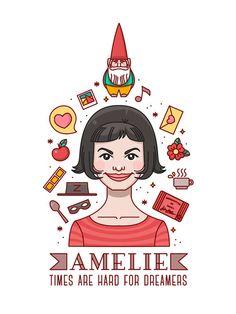 Illustration Amélie. affiche Amélie. Affiche du film. Figure A4. Affiche. Audrey Tautou. Amelie Paulin. Affiche du film