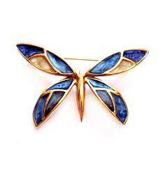 Vintage Butterfly Brooch, Blue Cloisonne Enamel Pin