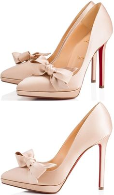 """Miss Pigalle"" is the signature Christian Louboutin icon dressed up in nu crepe satin, with a slender platform and an elegant handmade bow. This 120mm pump embodies formality and grace."