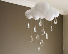 Moderne nuage trois feutre bébé Mobile avec par TheWhiteBirchTree