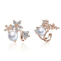 2017 Korean Style Fashion Earrings Big Simulated Pearl Jewelry Rose Gold Silver Color Crystal Flower Hot Stud Earrings For Girl #Affiliate