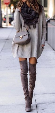 #fall #outfits women's gray long-sleeved mini dress and pair of brown leather thigh-high boots