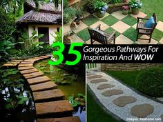 """We think of garden pathways as practical """"structures"""" to help us get from one point to another in the easiest way possible. But, there is so much interest that can happen along the way. Adding giant rocks, mosaic tile, bricks, and unique patterns along with some creativity in design can create a special beauty only …"""